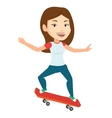 Woman riding skateboard vector image vector image