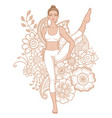 women silhouette bird of paradise yoga pose vector image vector image