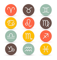 Zodiac Horoscope Circle Symbols in Retro Colors vector image