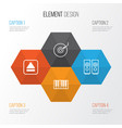 audio icons set collection of sound box piano vector image vector image