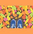 autumn selfie background vector image