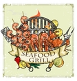 BBQ Grill label design - Seafood vector image
