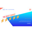 best choice banner with five golden stars in row vector image