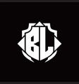 bl logo monogram with shield line and 3 arrows vector image vector image
