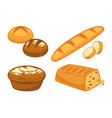 bread flat icons set for bakery shop or patisserie vector image vector image