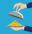 businessman hand opens serve cloche with money vector image vector image