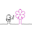 cartoon characters - businessman drawing flower vector image