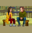 cartoon man and woman find out the relationship vector image