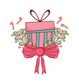christmas gift box with wreath and ribbon vector image vector image