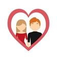 couple love frame heart valentine day vector image