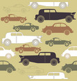 creative seamless pattern with set of retro cars vector image
