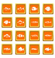 cute fish icons set orange vector image vector image