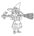 cute girl witch holding broom and a talking