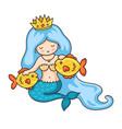 cute princess mermaid with crown wavy blue hair vector image vector image