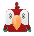 cute square red parrot isolated on white vector image vector image