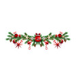 decorative borders with pine branches vector image vector image
