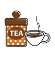 delicious hot black tea in cup and can vector image