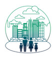 family in cityscape silhouette avatars vector image vector image