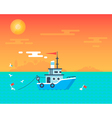 Fishing boat sunset card vector image vector image