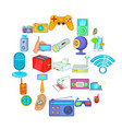 gadget for entertainment icons set cartoon style vector image vector image