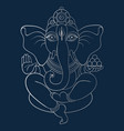 ganapati meditation in lotus pose vector image