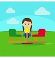 Girl on playground cartoon vector image vector image