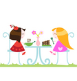 Girls eating dinner vector image