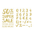 Gold glittering alphabet - numbers figures vector image