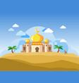 golden dome mosque in desert vector image