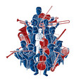 group musician orchestra instrument cartoon vector image