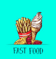 hand drawn colored fast food ice cream pie vector image vector image