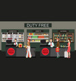 happy people standing at counter in duty free vector image