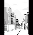 highway asphalt road city skyline modern buildings vector image