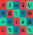 holiday icons set with church hajj headscarf and vector image vector image