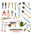 isolated icons of farm gardening tools vector image vector image