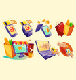 isometric icons mobile phones laptop vector image vector image