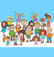kid boys and girls cartoon characters group vector image