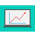 Laptop with growth graph vector image