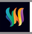 letter w colorful 3d logo vector image vector image