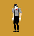 mime sad pantomime sorrowful mimic sorry vector image vector image