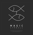 minimalist fish symbols on gray vector image
