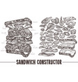 monochrome sandwich with ingredients vector image vector image