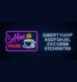 neon coffee time glowing sign in rectangle frame vector image vector image