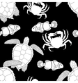 Oceanic animals tracery seamless pattern vector image vector image