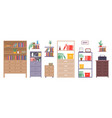 office cabinets lockers shelves shelving with vector image