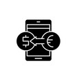 online currency exchange black icon sign vector image vector image