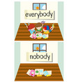 opposite word for everybody and nobody vector image vector image