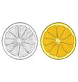 orange slice black and white and colored hand vector image
