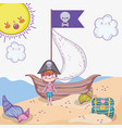 pirate boy with ship and coffer with sun vector image