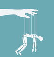 puppet marionette on ropes chronic fatigue vector image vector image